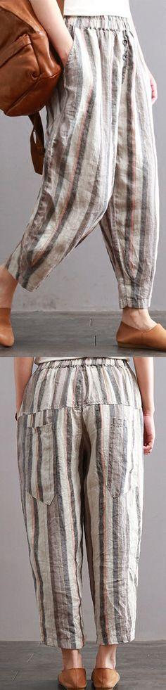 81d188e74 New vintage cotton linen women pants plus size elastic waist crop harem  pants