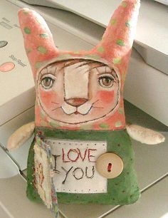Original art doll folkart  Whimsical Funny Bunny with by miliaart, $28.00