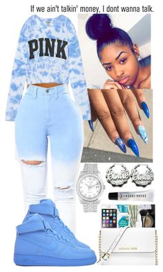 A fashion look from November 2017 by flawlessgirlty featuring Rolex, Nicki Minaj, Bobbi Brown Cosmetics, Victoria's Secret, NIKE and AG Adriano Goldschmied Swag Outfits For Girls, Cute Swag Outfits, Teenage Girl Outfits, Cute Comfy Outfits, Cute Outfits For School, Teen Fashion Outfits, Teenager Outfits, Dope Outfits, Girly Outfits