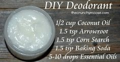 DIY Nontoxic Deodorant with coconut oil. It works! The best deodorant I have ever used! thecrunchymoose.com