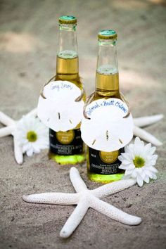 Wedding Guest Coronas:  this would be cute on bar at shower or wedding!!  We can even sketch M and L names or date of wedding on sand dollars