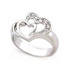 Twin Hearts Silver Ring with Cubic Zirconia - Romantic Gifts, VORI06-03633
