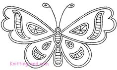Free Embroidery Pattern: Simple Cutwork Butterfly c1930. Copyright Sarah Bradberry January 2007