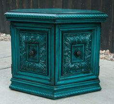 Peacock Blue Side Table by JunqueFurniture on Etsy, $165.00