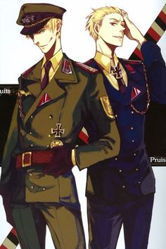 Hetalia, Germany and Prussia in military uniform Prussia Hetalia, Hetalia Germany, Germany And Prussia, Hetalia Fanart, Anime Uniform, Latin Hetalia, Military Drawings, Anime Military, Military Armor