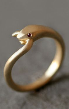 Ruby snake ring // whoops, he bit his own tail! Hehe... | jewelry design