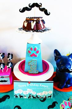 Pupstachio Dog Birthday Cake