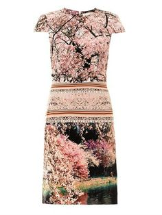 Buy now This silk Silver Lake dress forms part of Mary Katrantzou's debut Resort collection. Screen-printed with a blossoming landscape; whose contrasting panels are strategically placed to best enhance your shape. Complement its blush tones with metallic accessories.