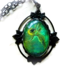 Bohemian Jewelry Absinthe Green Fairy Necklace Pendant Dark Victorian Halloween Necklace Fantasy Jewelry