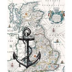Black Anchor Print on antique map of England, Wall map Art, Matte... ❤ liked on Polyvore featuring home, home decor, wall art, black home decor, map home decor, anchor home decor, map wall art and black wall art