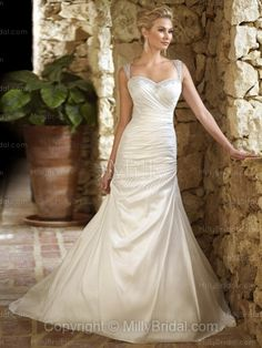 A-line Straps Taffeta Chapel Train Ivory Beading Wedding Dresses