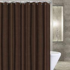 Popular Bath Waffle Stripe Fabric Shower Curtain, Brown