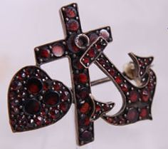Victorian Faith, Hope, & Charity garnet brooch