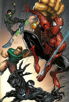 Spiderman, Venom, Sandman, and The Green Goblin