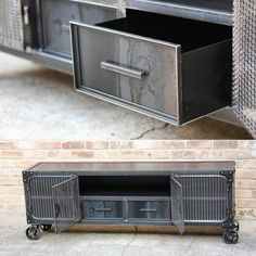 The Carnegie, all steel media cabinet with drawers. Home Design, Ikea Design, Modern Industrial Furniture, Industrial House, Steel Cabinet, Cabinet Drawers, Iron Furniture, Steel Furniture, Diy Upcycling