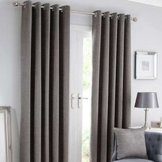 Designed with an elegant horizontal striped texture, these silver curtains are fully lined to retain warmth and feature an eyelet header to create sophisticated. Curtains Dunelm, Silver Curtains, Pencil Pleat, Blackout Curtains, Brisbane, New Homes, Living Room, Bedroom