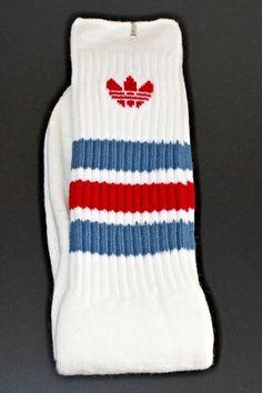 80s VTG NOS ADIDAS Trefoil Logo STRIPED Blue White Red TUBE Socks BASKETBALL   | eBay