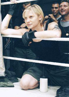"Battlestar Galactica's hotshot pilot Kara ""Starbuck"" Thrace outside the boxing ring."