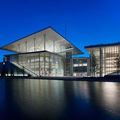 Exterior view at night. Stavros Niarchos Foundation Cultural Center by Renzo Piano. Photograph © Yiorgis Yerolym, courtesy of Renzo Piano and Stavros Niarchos Foundation. Renzo Piano, Architecture Wallpaper, Facade Architecture, Contemporary Architecture, Cultural Architecture, Stavros Niarchos, Mix Use Building, Wallpaper Magazine, Cultural Center