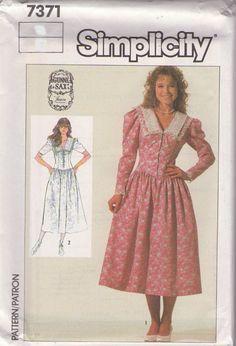MOMSPatterns Vintage Sewing Patterns - Simplicity 7371 Vintage 80's Sewing Pattern Designer Jessica McClintock Gunne Sax Front Corset Lace B...