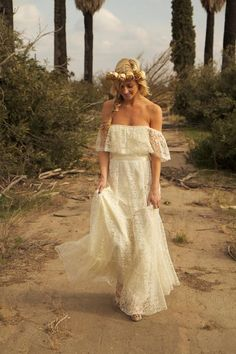 Off Shoulder Sweet Elegance Vintage Wedding Dress Collection by Daughters of Simone