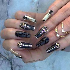 +80 Diseños de uñas decoradas color negro   Decoración de Uñas - Nail Art - Uñas decoradas - Part 8