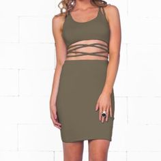 NEVER WORN Sexy strappy dress Olive green strappy dress in size XS. Never worn. Brand new with tags. Indie xo Dresses Midi