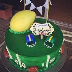 Football themed Happy Birthday Cake