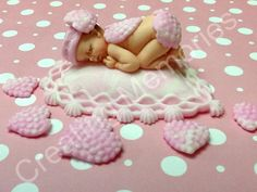 Baby Hearts/Edible Cake Toppers/Baptism Birthday by anafeke