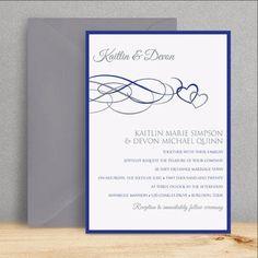 Printable Wedding Invitation Template Elegance Royal Blue Word