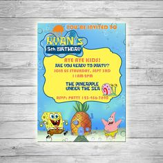 Spongebob Invitation  DIGITAL by TheCuteKoala on Etsy