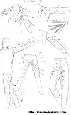 How to Draw - Study: Clothes, Wrinkles and Folds for Comic / Manga Panel Design Reference