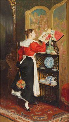 Duxa, Carl Taking Dusting Break to Admire Flowers Fragrant Roses, William Waterhouse, Pierre Auguste Renoir, Autumn Photography, Children Images, Flower Basket, Room Paint, Impressionism, Female Art