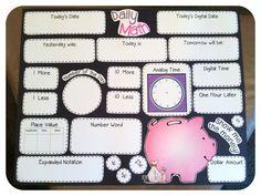 Jennifer's Kindiekins & First Graders: Daily Math Wall {Free} Printable :) First Grade Calendar, Calendar Time, Kids Calendar, Calendar Wall, Daily Calendar, Teaching First Grade, 1st Grade Math, Teaching Math, Second Grade