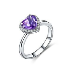 Magic Pieces Sterling Silver Ring with Natural Brazilian Purple Amethyst Heart Shape Main Stones and CZ J1122