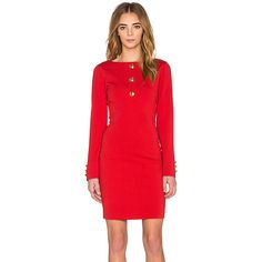 Love Moschino Long Sleeve Mini Dress Dresses ($595) ❤ liked on Polyvore featuring dresses, long-sleeve mini dress, long sleeve cut out dress, short red dress, cutout dress and red mini dress