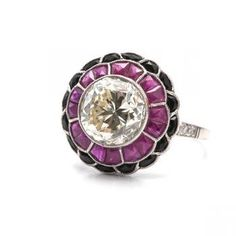 PLNOV11-08 - 5.10ct Antique Deco Diamond Ruby Platinum Engagement Ring