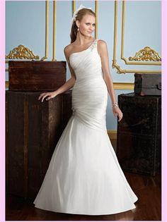 White Mermaid One Shoulder Satin Wedding Dress