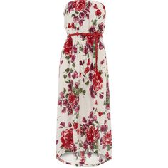 Cream floral print maxi dress (1.830 RUB) ❤ liked on Polyvore featuring dresses, vestidos, long dresses, maxi dresses, cream, cream maxi dress, pink strapless dress, pink dress, floral dress and strapless dress