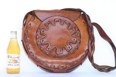 Beautiful, very unique and large, vintage hand made hand boho hippie leather shoulder bag purse.... via Etsy