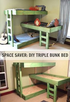 SPACE SAVER: DIY TRIPLE BUNK BED  http://theownerbuildernetwork.co/3tgw  Looking for a bunk bed that makes good use of space in a shared bedroom? Then this project is for you!  To efficiently use a small space things need to be customized. This concept of building a triple stacked bunk bed is the perfect solution. The most obvious reason is that you can fit three kids in one bedroom. But what makes it even better is that you can configure the bunk bed to fit the bedroom.