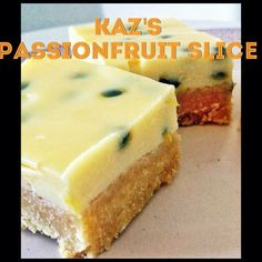 Kaz's Passionfruit slice (Thermomix Method Included) « Mother Hubbard's Cupbo. - Kaz's Passionfruit slice (Thermomix Method Included) « Mother Hubbard's Cupboard - Thermomix Desserts, Healthy Desserts, Delicious Desserts, Yummy Food, Yummy Eats, Passionfruit Slice, Passionfruit Recipes, Baking Recipes, Cake Recipes