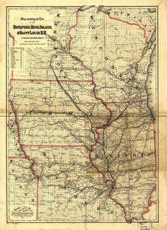 Rock Island Railroad Map 1868.