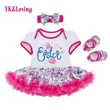2eab900c806c29 Meisjes Tutu Jurk Pasen Print konijn Baby Lace Ruffle Romper Jurken En  schoenen Hoofdband 3 Stks