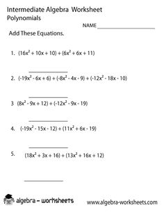 Adding and Subtracting Polynomials Worksheets | Math-Aids.Com ...