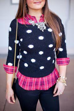 {Pattern Party}  #Fashion #Style #Layering #Sweater #Winter #Ferragamo #Blogger #Blog #Lifestyle #Hair #Makeup #Womans #FashionBlogger #StyleBlogger #PatternMixing #Flats #Handbag #PolkaDots #J.Crew #Outfitideas #OutfitInspiration
