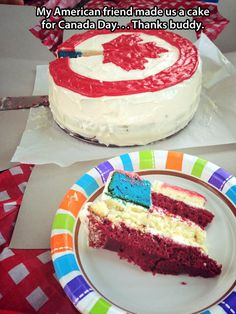 We need to make this for Grammy's birthday next year! You think it's for Canada and then, BOOM, America slaps you in the face.MURICA! @Melissa Squires Squires Squires Squires Standage