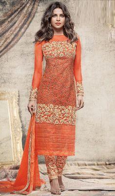 Priyanka Chopra Orange Color Net Embroidered Pant Style Suit