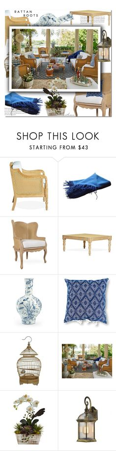 """""""Rattan Roots"""" by arethaman ❤ liked on Polyvore featuring interior, interiors, interior design, home, home decor, interior decorating, Hermès, Nearly Natural, patio and rattan"""