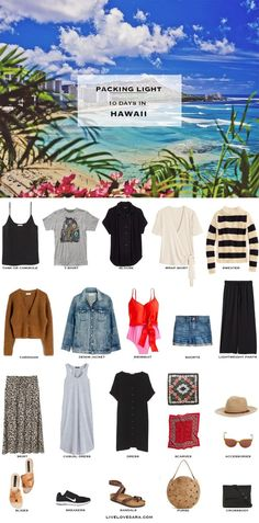 What to Pack for Hawaii - Packing Light List Are you wondering what to pack for Hawaii? I have a sample of a Hawaii packing list to help you on your way. Head over to my post for what to pack and outfit ideas. Summer Packing Lists, Beach Vacation Packing List, Beach Vacation Outfits, Hawaii Outfits, Packing For A Cruise, Travel Outfit Summer, Vacation Travel, Beach Travel, Travel Outfits